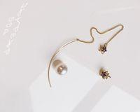 best korean model - Korean small fresh designer models Pentagram Pearl Pendant Earrings Ear asymmetry line best gifts for girl friend the best christmas gifts