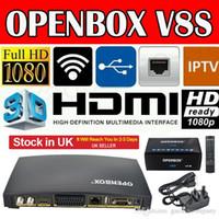 venda por atacado digital receiver-Receptor de satélite original de Openbox V8S sustentação WEBTV Biss chave 2 fenda de porta USB Wifi 3G Youporn CCCAMD NEWCAMD DPD Frete Grátis