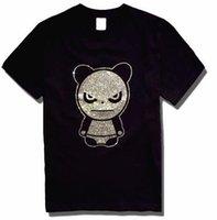 Men animal violence - High Quality men panda t shirt Angry violence Short sleeves Rhinestones Big yards tee cool tops
