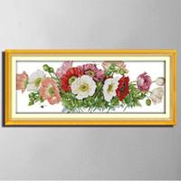 Amapolas flores paisaje pinturas diy decoración contados impresos en lona DMC 11CT 14CT kits de punto de cruz bordado costura establece