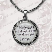 Wholesale 2017 Potter Necklace Hogwarts Will Always Be There Quote Pendant Necklace Glass art photo Pendant Necklace A