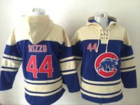 Wholesale Chicago Cubs Anthony Rizzo Blue Hoodie New Style Champion Hoodies Hot Sale Baseball Sweaters Lace Up Pullover Hooded Sweatshirt for men