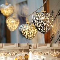 battery operated art light - Heart Shape Battery Operated LED Bulbs Christmas Iron Art Filigree String Lights