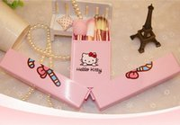 Cheap Makeup brush set hello kitty 8 sets of beginners professional full set of storage box portable makeup tools free shipping