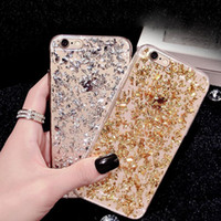apple flakes - Bling Sparkling Gold Bling Bling Flexible Soft TPU Clear Case For iphone samsung galaxy s7 edge With Gold Flake Cases