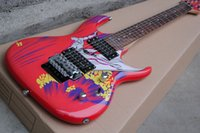 Wholesale Factory Red Body Electric Guitar with Floyd Rose Limit Surfing Pattern Joe Satriani Signature Offer Customized