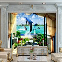 Wholesale D Stereo Custom HD Space Expanded Balcony Sea View Dolphin Showers Water TV Backdrop living room wallpaper mural