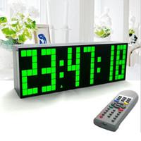 Grandes relojes de pared azul España-Venta al por mayor- grandes grandes Jumbo LED reloj pantalla de la mesa de escritorio pared de alarma de control remoto calendario Digital Timer LED reloj azul reloj