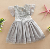 Wholesale New Summer Girls Childrens Tutu Cotton Lace Dress Ball Gown Party Kids Princess Dresses White Pink Gray