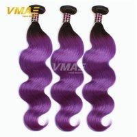 12 pouces cheveux humains deux tons France-1B violet cheveux brésiliens ombre deux tonalité couleur cheveux humains de la Vierge 3pcs Ombre corporelle Ombre 8-30