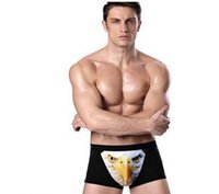 Wholesale popular Men s Seamless Boxer Brief Stretchable Underwear D Printing Underpants Sexy Hipster Wolf Animals