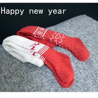 Wholesale Children socks Christmas red and white winter tights cotton baby tights fall winter padded warn and fashion