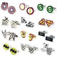Wholesale Hot Mix Design Superhero Cufflinks Star Wars Cufflinks Batman Superman Mens Jewelry Shirts Cuff links