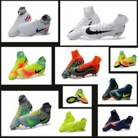 Wholesale Cheaps TF Nail Men Football Shoes Boots Hypervenom FG Nail Soccer Shoes Cleats Mercurial Superfly High Ankle Indoor Soccer Boots