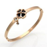 Wholesale 2017 New Arrivals Black Clover Bracelets Bangles CNC Inlaid Zircon Stainless Steel Bracelet For Women Fashion Jewelry Cheap