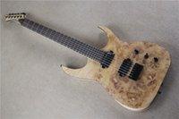 ash burl - Factory custom High Quality frets strings electric guitar One Piece Neck Burl pattern Natural Ash Body