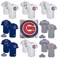 Baseball Men Full 2017 World Series Champions Chicago Cubs #17 Kris Bryant 44 Anthony Rizzo 9 Javier Baez 49 Jake Arrieta Jersey Baseball Jerseys Mix Order