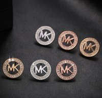 copper alloy - MK Michael Kores style Tone earrings Letters stud earings Fashion jewelry brand jewellery for women girls Silver Gold Rose Gold MSE06