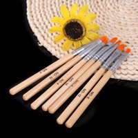 Wholesale 7 Sizes wood UV Gel Nail Brush Painting Pen Wood Handle Round Drawing Nail Art Brush Manicure Beauty Nail Tool