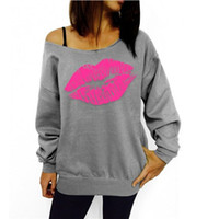Wholesale 1 New Autumn sexy women s Red Big Lips Print sweatshirt Long Sleeve Winter Blusas Sweatshirt Plus Size XL Hoodies Tracksuit