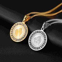 islamic necklace - The Islamic religion Round Diamond Pendant titanium stainless steel pendant necklace religious holy angel
