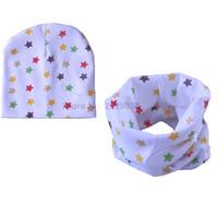 Boy Summer Crochet Hats Retail Wholesale Nice Star Print baby hat children cotton scarf collars autumn winter infant hats set boys girls scarf baby caps