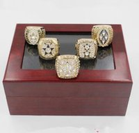 all'ingrosso dallas championship ring-1971/1977/1992/1993/1995 Replica Dallas Cowboys Super Bowl Championship anello 5pcs set con scatola di legno