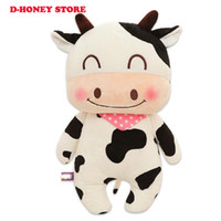 baby doll cattle - 40cm Happy Farm milk cow Animals plush toys pink Cattle cloth doll baby birthday gift for Children kids toys