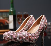 ballet pigs - Luxury Bulingbuling Pink Diamond High Heeled Women Bride Heels Crystal Beaded Bridal Wedding Shoes Handmade Evening Party Pageant Red carpet