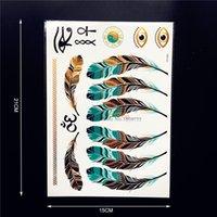 Wholesale PC Hot Fashion Body Arm Gold Flash Metallic Tattoo HYH83 Sexy Women Makeup Feather Designs Tattoo Henna Girl Party Eye Tatoos