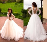 Wholesale Vintage Lace Long Sleeves Wedding Dresses Sexy Deep V Neck Princess Ball Gown Bohemian Beach Bridal Gowns Buttons Back Custom Made BA4137