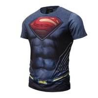 Crew Neck anti finger print - 2017 new soft quick dry sports material Surperman costume t shirt d print mens nice popular tshirt us hero finger painting sweatshirt