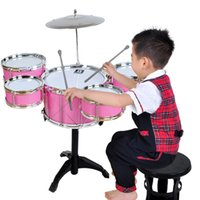 Percusión Mobile Rack Drum <b>Pink Jazz</b> Drum Negro Drum Kit P Para los niños Ercussion Instrumento Rack Music Toy