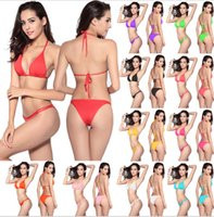 Wholesale Women Sexy Triangle t Bikini Brazilian Swimmer Trikini Swimsuit Swimwear Push up European Bikini Underwear Bathing Suit color KKA1353