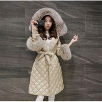 Wholesale 2016 Europ New Style Women Winter Coat Lightweight Thin Warm Duck down Down jacket Big yards Slim Hooded Fur collar Jacket G2458