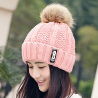 Cheap Hat Female Wnter Nine New Korean Policy Plus B Cashmere Woolen hat Lady Thickened Hair Ball Flanging Thermal Knitted Cap