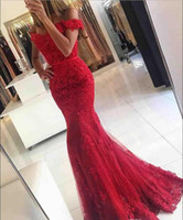 beaded nylon strap - 2016 New Red Lace Mermaid Prom Dresses veatidos off Shoulder Beaded Appliques Tulle Sweep Train Formal Evening Long Evening Gown