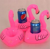 Wholesale Mini Flamingo Floating Inflatable Drink Can Cell Phone Holder Bottle Floats Lovely Pink Float Bath Drink Flamingo Float Toys