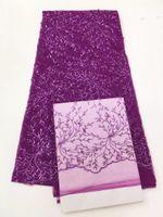 al por mayor vestido de gasa de tul-Rebordeado diseño de malla de encaje francés bordado africano tela de tul de encaje para la ropa telas de cordón de red para el vestido nupcial de la gasa