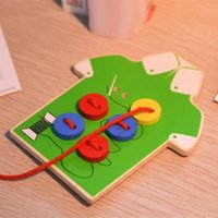 Wholesale Baby Smart Toys DIY Beads Wooden Lacing Board Toy Sew On a Button Threading Buttons Beads Board Montessori Toy Educational Toy H