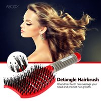 Wholesale Abody Bristle Nylon Detangle Hairbrush Women Hair Scalp Massage Comb Wet Hair Brush for Hairdressing Salon W2284