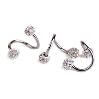 Wholesale 1 Pc Stainless Steel Twist Helix Cartilage Earring Piercing Crystal Rhinestone Balls Nose Lip Ring And Studs Body Jewelry