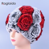 big current - Big Rose Floral Winter Girl Hat Real Fur Knitting Cap Current Femininity Rex Fur Hat Rabbit Beanies Braid Hats for Women LQ11167