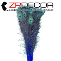 Wholesale ZPDECOR pieces cm inches Sufficient Stock of Colors Bleached Peacock Feathers Royal Blue Bulk Sale For Showgirl Costumes