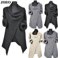 asymmetric hem coats - JSEO Women Cuffed Sleeve Knitted Sweater Asymmetric Loose Trench Coat Outwear Tassel Hem Crew Neck Sweatshirt