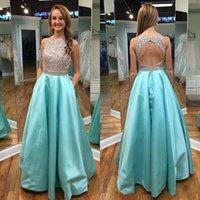 Wholesale Jewel neck top sequins prom dresses long floor length a line satin formal evening gowns with pocket open back vestidos de novia