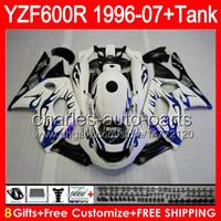 achat en gros de yzf 1996-8gifts blue flames Pour YAMAHA Thundercat YZF600R 96 97 98 99 00 01 80NO103 YZF-600R 96-07 YZF 600R 02 03 04 05 06 07 Carénage brillant noir Kit