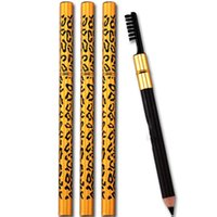 Wholesale 5 color Eyebrow pen new fashion leopard Waterproof Long lasting eyebrow pencil with brush double used in stock
