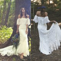 Wholesale 2017 New Arrival Elegant Summer Vintage Bohemian Wedding Dresses Sexy Mermaid Off the Shoulder Half Long Sleeves Full Lace Bridal Gowns