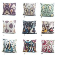Wholesale High end hand print ikat pattern quot pillow case cushion cover for sofa vintage look home decoration throw